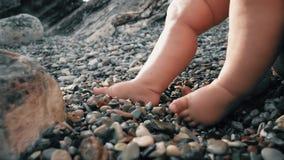 Baby ` s bloße Füße auf Pebble Beach, Nahaufnahmeschuß stock video footage