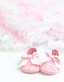 Baby's bootees. Pair of pink bootees close-up Royalty Free Stock Photos