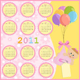 Baby's calendar for 2011. Baby's calendar for year 2011 Royalty Free Stock Photography