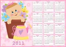 Baby's calendar for 2011. Baby's calendar for year 2011 Stock Photos