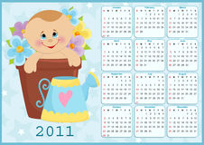 Baby's calendar for 2011. Baby's calendar for year 2011 Royalty Free Stock Image