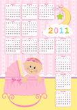 Baby's calendar for 2011. Baby's calendar for year 2011 Stock Photos