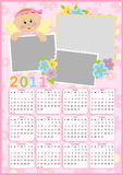 Baby's calendar for 2011. Baby's calendar for year 2011 with photo frame royalty free illustration