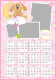 Baby's calendar for 2011. Baby's calendar for year 2011 with photo frame stock illustration