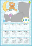 Baby's calendar for 2011. Baby's calendar for year 2011 with photo frames Royalty Free Stock Images