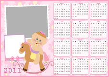 Baby's calendar for 2011. Baby's calendar for year 2011 with photo frames stock illustration