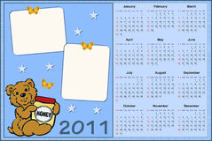 Baby's calendar for 2011. Baby's calendar for year 2011 with photo frames Royalty Free Stock Photo