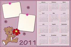 Baby's calendar for 2011 Stock Photography
