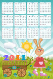 Baby's calendar for 2011. Baby's calendar with rabbit for 2011 royalty free illustration