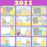 Baby's calendar for 2011. Baby's monthly calendar for 2011 with photo frames Stock Photos