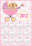 Baby's calendar for 2012 Royalty Free Stock Photos