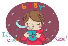 Baby, it's cold outside! cartoon illustration vector illustration
