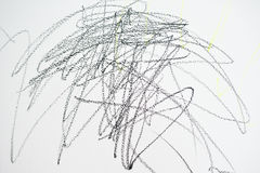 Baby's drawing with crayon color on the wall. Works of child. Abstract sketch background. Royalty Free Stock Photography
