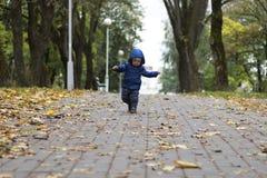 Baby` s eerste stappen De eerste onafhankelijke stappen Peuter die in het de herfstpark lopen Stock Afbeeldingen