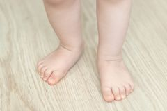 Baby`s feet, first step, close up royalty free stock images