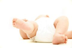 Baby's feet over white Royalty Free Stock Image