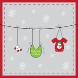 Baby`s First Christmas Clothes Line. Baby`s First Merry Christmas Clothes Line Royalty Free Stock Image