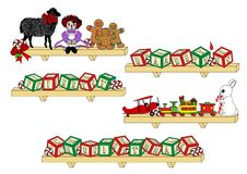 Baby's First Christmas. An illustration shelves holding toys and alphabet blocks spelling the words Baby's First Christmas Stock Photo
