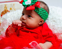 Baby's first Christmas photoshoot. Stock Photo