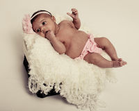 Baby's first photoshoot. Royalty Free Stock Photography