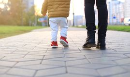 Baby`s first steps. The first independent steps. Stock Images