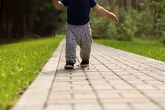 Baby`s first steps.The first independent steps. Running toddler in the park Stock Image