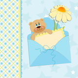 Baby's greetings card with bear and chamomile. Baby's greetings card with bear cub and chamomile in blue colors Royalty Free Stock Photography