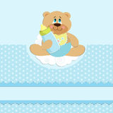 Baby's greetings card with bear cub and bottle Stock Photo