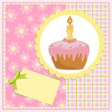 Baby's greetings card for birthday. Baby's greetings card for one year birthday Royalty Free Stock Images