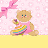Baby's greetings card with cat Royalty Free Stock Image
