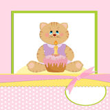Baby's greetings card with cat Royalty Free Stock Images