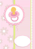 Baby's greetings card with dummy. In pink colors Stock Photo