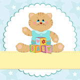 Baby's greetings card with kitty. In blue colors Royalty Free Stock Photo