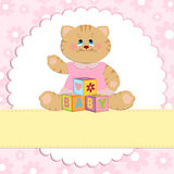 Baby's greetings card with kitty. In pink colors Stock Photography