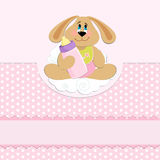 Baby's greetings card with rabbit and bottle. In pink colors Stock Photos