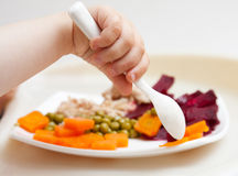 Baby's hand and plate with vegetables Royalty Free Stock Images