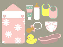 Baby's icons pink. Set of icons with the image of objects on a baby girl themes vector illustration
