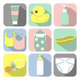 Baby's icons. Set of icons with baby items Royalty Free Stock Images