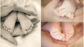 Baby's legs. Collection of baby's legs in mother's hands in soft focus Royalty Free Stock Photo