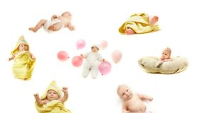 Baby's life collection. Over white Stock Photography