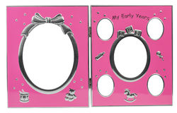 Baby's metal photo frame My first year Royalty Free Stock Image
