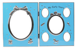 Baby's metal photo frame My first year Stock Images