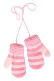 Baby`s mittens. Baby`s pink mittens for girl Stock Images