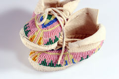 Baby's Moccasins. Baby's beaded Indian moccasins Royalty Free Stock Image