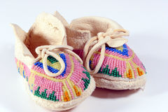 Baby's Moccasins. Baby's beaded Indian moccasins Royalty Free Stock Photography