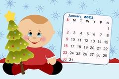 Baby's monthly calendar for 2011. Baby's monthly calendar for january 2011 Stock Image