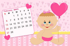 Baby's monthly calendar for 2011. Baby's monthly calendar for february 2011 royalty free illustration