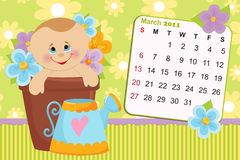 Baby's monthly calendar for 2011. Baby's monthly calendar for march 2011 vector illustration