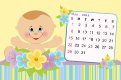 Baby's monthly calendar for 2011. Baby's monthly calendar for may 2011 stock illustration