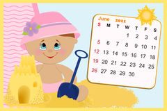 Baby's monthly calendar for 2011. Baby's monthly calendar for june 2011 Royalty Free Stock Photos